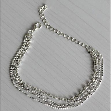 En Capas Brazalete tobillo - Plateado, Diamante Sintético Europeo, Moda, Multi capa Plata Para Diario Casual Mujer