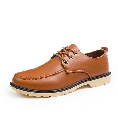 Miehet kengät Tekonahka Kevät Kesä Syksy Talvi Comfort Oxford-kengät Käyttötarkoitus Häät Juhlat Musta Ruskea