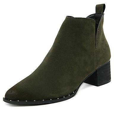 Dame-Semsket lær-Tykk hæl-Annet-Støvler-Fritid-Svart Militærgrønn
