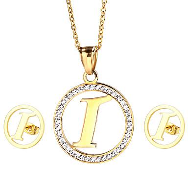 女性 ジュエリーセット ラインストーン 初期ジュエリー ステンレス鋼 ゴールドメッキ 1×ネックレス 1×イヤリング(ペア) 用途 パーティー 日常 カジュアル ウェディングギフト