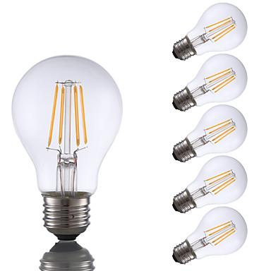 GMY® 6pcs 700lm E26 LED-glødepærer A60(A19) 4 LED perler COB Mulighet for demping Varm hvit 110-130V