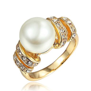 女性用 真珠 指輪 - ゴールドメッキ, 18Kゴールドメッキ ゴールド, ホワイト