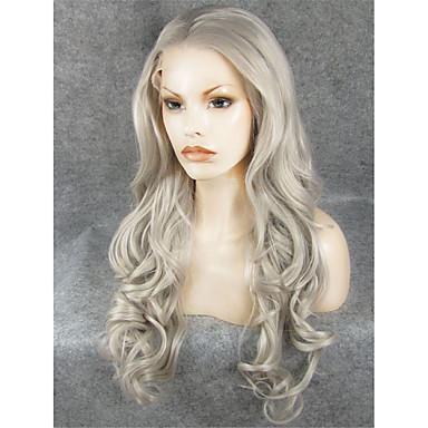 Synteettiset pitsireunan peruukit Laineita Luonnollinen hiusviiva Harmaa Naisten Lace Front Luonnollinen peruukki Synteettiset hiukset