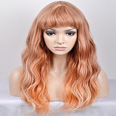 الاصطناعية الباروكات تمويج طبيعي أشقر شعر مستعار صناعي أشقر شعر مستعار للمرأة طويل / طويل جدا دون غطاء أصفر