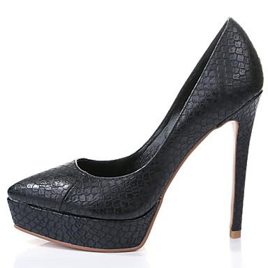 女性-ドレスシューズ カジュアル パーティー-レザー-スティレットヒール プラットフォーム-プラットフォーム コンフォートシューズ クラブシューズ 靴を点灯-ヒール-ブラック