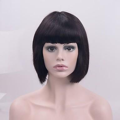Synthetische Lace Front Perücken Glatt Bubikopf Mit Pony Natürlicher Haaransatz Schwarz Damen Spitzenfront Natürliche Perücke Kurz