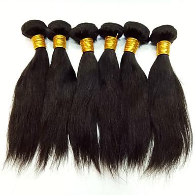 Peruviansk hår Rett Ubehandlet hår / Ekte hår Menneskehår Vevet 6 pakker 8-30tommers Hårvever med menneskehår Lugtfri / Silkete /