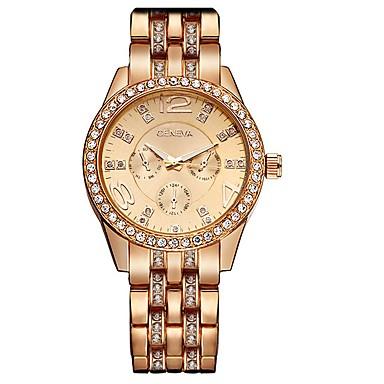 halpa Naisten kellot-Geneva Naisten naiset Luksus kellot Rannekello Diamond Watch Quartz Hopea / Kulta  / Ruusukulta Tyylikäs Analoginen Viehätys Kimaltava - Kulta Harmaa Ruusukulta Yksi vuosi Akun käyttöikä / SSUO 377