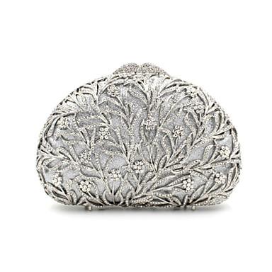 abordables Meilleures Ventes-Femme Cristal / strass Métal Pochette Sacs de soirée en cristal strass A Fleur Argent / Rouge / Doré