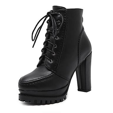 レディース 靴 レザーレット 冬 コンバットブーツ ブーツ チャンキーヒール ポインテッドトゥ 用途 ドレスシューズ ブラック