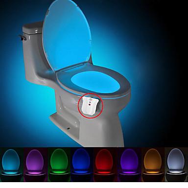 olcso Dekorativna rasvjeta-brelong 1 db frissítés vízálló 8 színű emberi test mozgásérzékelő pir WC éjszakai fény