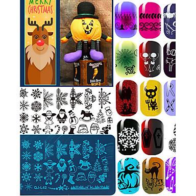 10Pcs Placa de Estampagem Modelo arte de unha Manicure e pedicure Fashion Diário / Placa de Carimbar / Aço