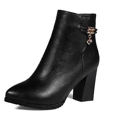 Dame-PU-Tykk hæl-Komfort-Støvler-Kontor og arbeid Formell Fritid-Svart
