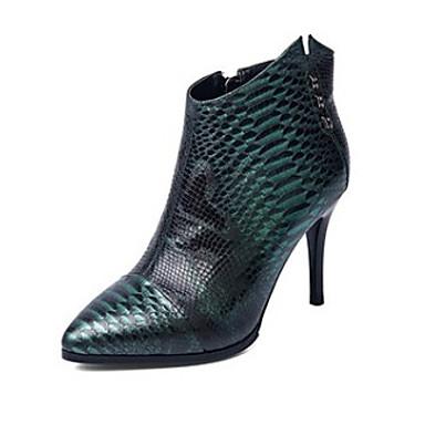 Dame-Nappa Lær-StiletthælStøvler-Fritid-Grønn