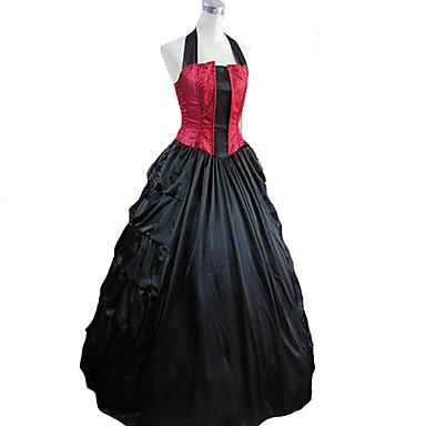 Middelalderkostumer Victoriansk Kostume Dame Kjoler Maskerade Festkostume Vintage Cosplay Charmeuse Uden ærmer Lang Længde