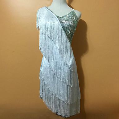 ラテンダンス ドレス 女性用 性能 スパンデックス タッセル ノースリーブ ナチュラルウエスト ドレス