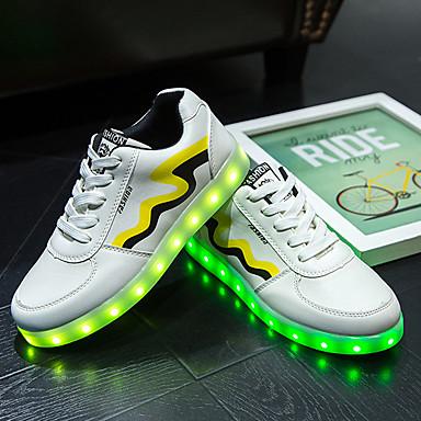 Lenkkitossut-Tasapohja-Unisex-PU-Keltainen Punainen-Ulkoilu Rento Urheilu-Comfort Crib Shoes Nilkkahihna Light Up Kengät