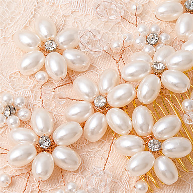 人造真珠 コーム コサージュ かぶと