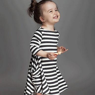 baratos Vestidos para Meninas-Bébé Para Meninas Listras Diário Listrado Manga Longa Vestido Branco