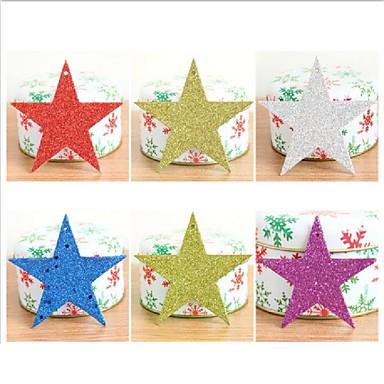 6kpl / setti joulukuusen koriste tähdet koristeet joulukoristeet paperi kimallus paljetteja joulu tähti pentagrammi pendant10cm