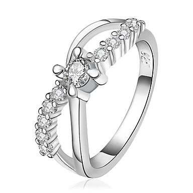 指輪 ジルコン キュービックジルコニア 銅 銀メッキ ドロップ ファッション シルバー ジュエリー 結婚式 パーティー 日常 カジュアル 1個