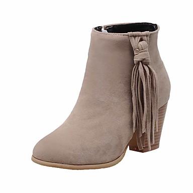 Dame-Semsket lær-Tykk hæl-Komfort-Støvler-Kontor og arbeid Formell Fritid-Brun Mandel