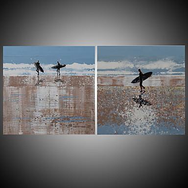 Hang-Painted Oliemaleri Hånd malede - Landskab Middelhavet / Moderne Med Ramme / Stretched Canvas