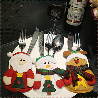 1cover3pcs) 3different joulukoristeen tyylejä uudenaikainen on juhlava tunnelma joulun veitset ja haarukat kansi