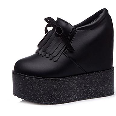 Dame-PU-Flat hæl-Komfort-Treningssko-Fritid-Hvit Svart Rosa