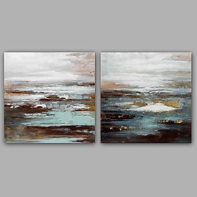 Pintada a mano Abstracto Paisajes Abstractos Clásico Modern Lienzos Pintura al óleo pintada a colgar Decoración hogareña Dos Paneles
