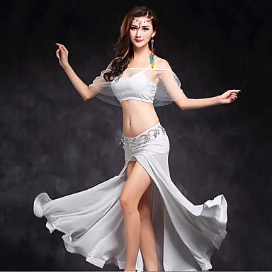 ベリーダンス セット 女性用 演出 チュール スプリットフロント 2個 ノースリーブ ナチュラルウエスト 上着 スカート