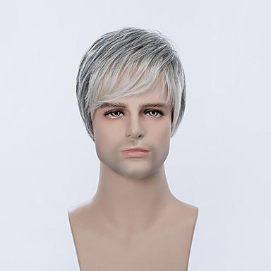 Mænd Human Hair Capless Parykker Grå Medium Rødbrun Medium Rødbrun / Bleik Blond Strawberry Blonde / Bleik Blond Beige Blond // Bleach