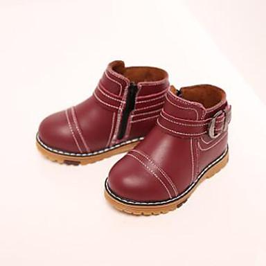 Jente-Lær-Flat hæl-Komfort-Støvler-Fritid-