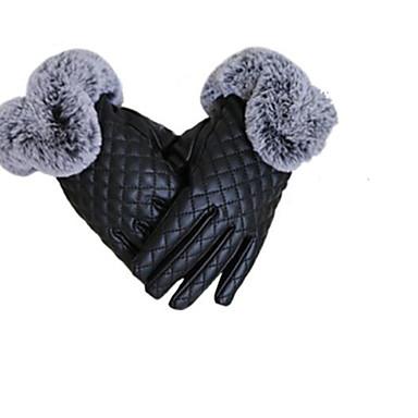 フルタッチスクリーン模造革の女性暖かい手袋