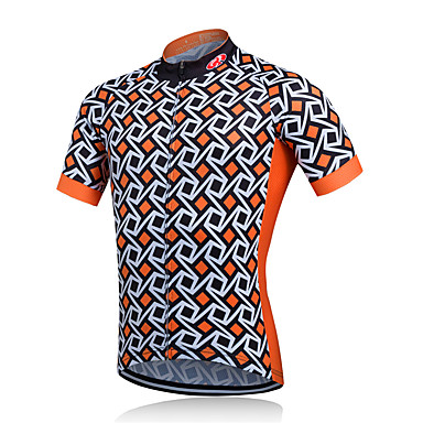 Fastcute Hombre Manga Corta Maillot de Ciclismo Chaqueta de Ciclismo - Naranja Cuadros / A Cuadros Bicicleta Camiseta / Maillot, Transpirable Secado rápido Reductor del Sudor Poliéster / Elástico