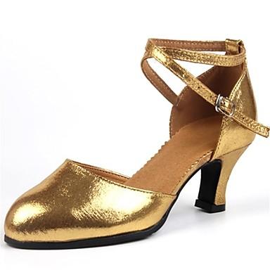 نساء لاتيني جلد كعب متخصص مشبك كعب كوبي ذهبي أسود فضي أحمر 5 سم مخصص