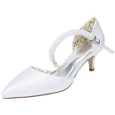 Perle Chaussures Satin Chaussures Bout Printemps Talons Elastique pointu Ivoire Femme Mariage 05432565 Blanc à Talon Aiguille Automne X7wqn5