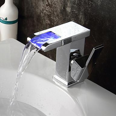 Baño grifo del fregadero - Cascada / Separado / LED Bronce Aceitado Conjunto Central Sola manija Dos Agujeros