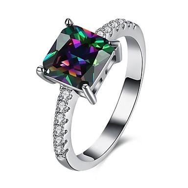 女性 指輪 婚約指輪 多色 ジルコン キュービックジルコニア 銅 方形 幾何学形 ジュエリー 結婚式 パーティー 日常 カジュアル