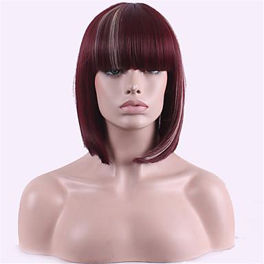 Synteettiset hiukset Peruukit Kihara Bob-leikkaus Otsatukalla Suojuksettomat Luonnollinen peruukki Punainen