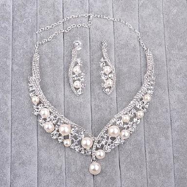 للمرأة لؤلؤ تقليدي / حجر الراين مجموعة مجوهرات - تتضمن فضي من أجل زفاف