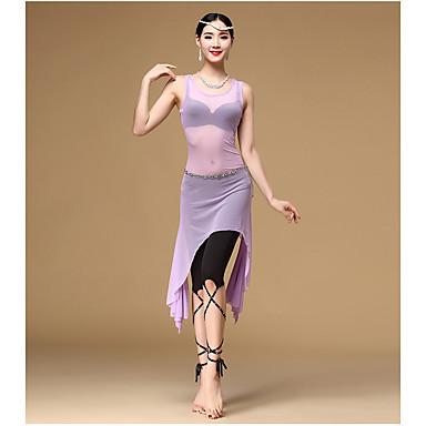 ベリーダンス セット 女性用 訓練 スパンデックス チュール フリル 3個 ノースリーブ ハイウエスト ドレス ウエストベルト ショートパンツ