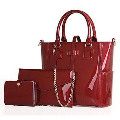 Naisten Kassit PU Bag setit 3 kpl kukkaro setti varten Musta Purppura Punainen Sininen
