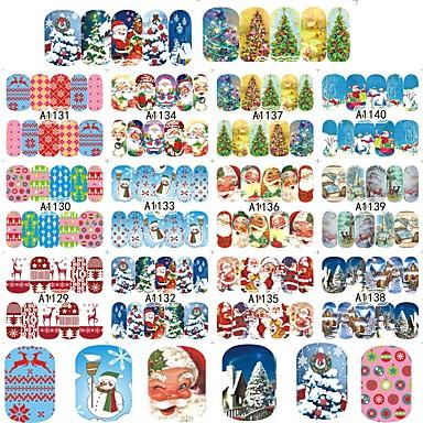 12Design/Set Transferência de água adesivo / Enfeites de Natal / Adesivo de unha Decalques de unha / Acessório da ferramenta DIY Art DIY / Natal Autocolantes / Nail Art Design