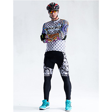 Malciklo رجالي كم طويل جورسيه مع فيزون للدراجة دراجة هوائية الجوارب الدراجات, متنفس, 3D وسادة, سريع جاف, الشتاء, Coolmax®كول ماكس, ليكرا منقوشة / متقلب / عالية المرونة