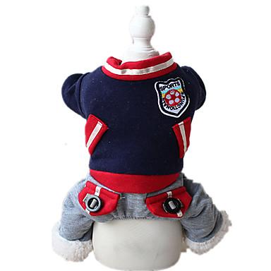 犬 ジャンプスーツ 犬用ウェア スポーツ 純色 ダークブルー レッド