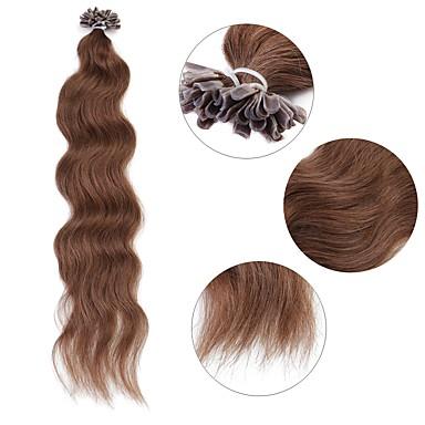 Queratina / Punta en U Extensiones de cabello humano Rizado Extensiones Naturales Cabello humano Mujer - Ceniza marrón Medium Golden Brown Castaño Medio