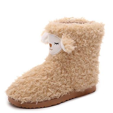 Dame-Pels-Flat hæl-Komfort-Støvler-Fritid-Svart / Rosa / Beige