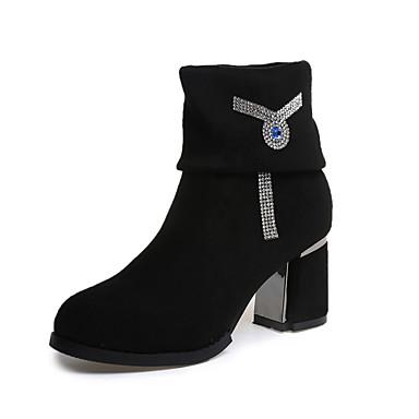 Dame Støvler Komfort Trendy støvler PU Vinter Avslappet Komfort Trendy støvler Tykk hæl Svart 5 - 7 cm