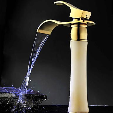 Nykyaikainen Integroitu Vesiputous Keraaminen venttiili Yksi reikä Yksi kahva yksi reikä Ti-PVD , Kylpyhuone Sink hana
